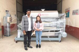 Cliente com a máquina de fazer bandejas de papel Beston