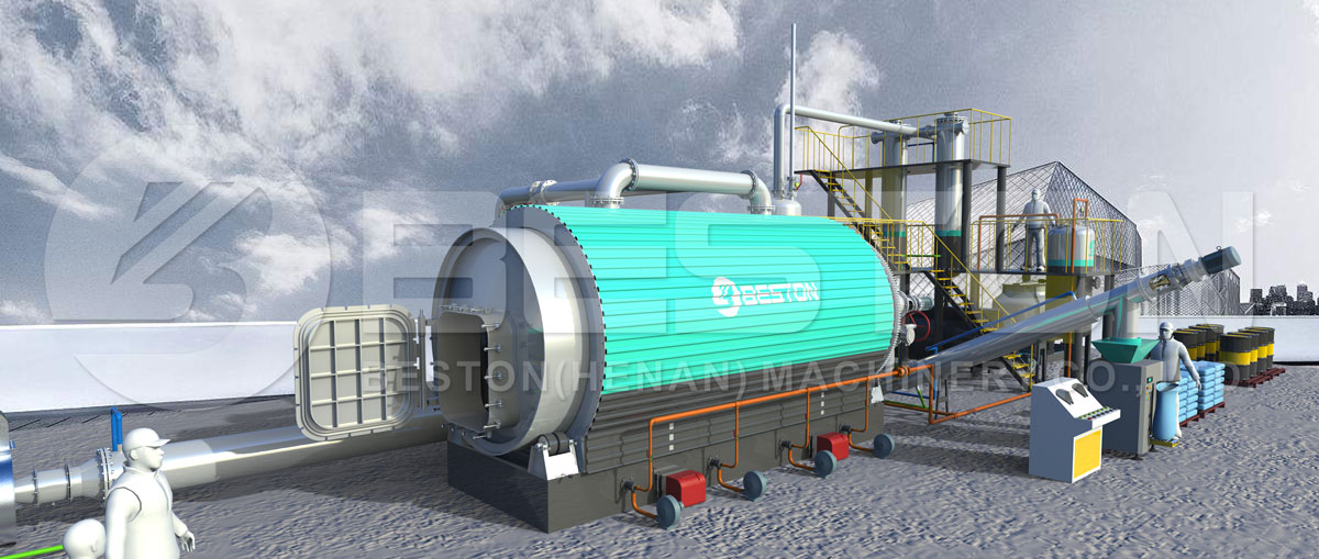 3D Model - Beston Tyre Recycling Pyrolysis Plant with Reasonable Price