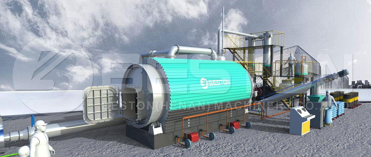 3d model - Beston Pyrolyse-installatie voor recycling van banden met een redelijke prijs
