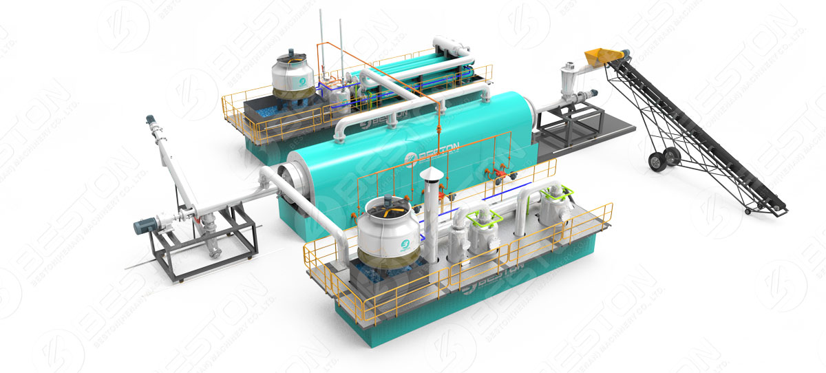 3D Model – Beston Tyre Recycling Pyrolysis Plant with Reasonable Price