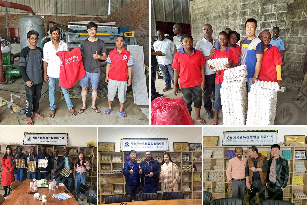 Проекты Beston Машина для изготовления лотков для яиц из мякоти в Алжире, Кот-д'Ивуаре, Индии и других странах